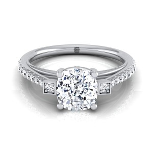 Cushion Cut Diamond Solitaire Engagement Ring With Pave Shank In 14k White Gold (1/3 Ct.tw.)
