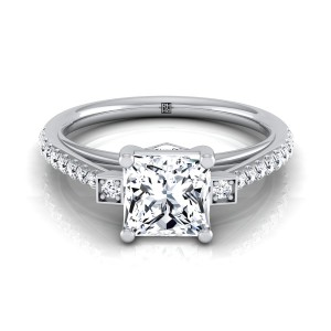 Princess Cut Diamond Solitaire Engagement Ring With Pave Shank In 14k White Gold (1/3 Ct.tw.)