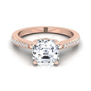 Asscher Cut Diamond Solitaire Engagement Ring With Pave Shank In 14k Rose Gold (1/8 Ct.tw.)