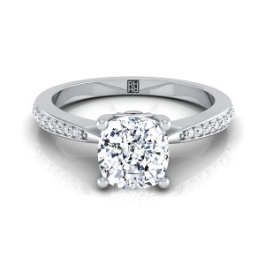 Cushion Cut Diamond Solitaire Engagement Ring With Pave Shank In 14k White Gold (1/8 Ct.tw.)
