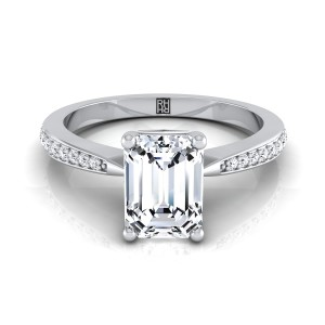 Emerald Cut Diamond Solitaire Engagement Ring With Pave Shank In 14k White Gold (1/8 Ct.tw.)