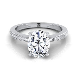 Oval Diamond Solitaire Engagement Ring With Pave Shank In 14k White Gold (1/8 Ct.tw.)