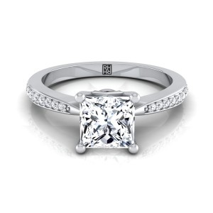 Princess Cut Diamond Solitaire Engagement Ring With Pave Shank In 14k White Gold (1/8 Ct.tw.)