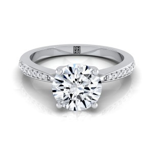 Diamond Solitaire Engagement Ring With Pave Shank In 14k White Gold (1/8 Ct.tw.)