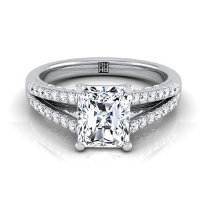 Radiant Cut Diamond Engagement Ring With Split Pave Shank In 14k White Gold (1/3 Ct.tw.)