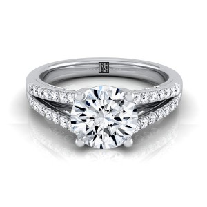 Diamond Engagement Ring With Split Pave Shank In 14k White Gold (1/3 Ct.tw.)