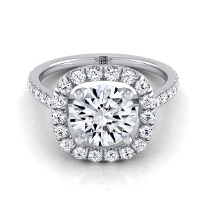 Diamond Pave Halo Frame  Engagement Ring In 14k White Gold (1/2 Ct.tw.)