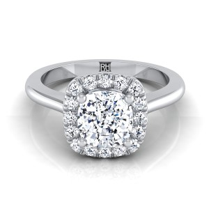 Cushion Cut Diamond Halo Engagement Ring In 14k White Gold (1/5 Ct.tw.)