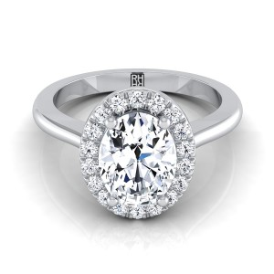 Oval Diamond Halo Engagement Ring In 14k White Gold (1/4 Ct.tw.)