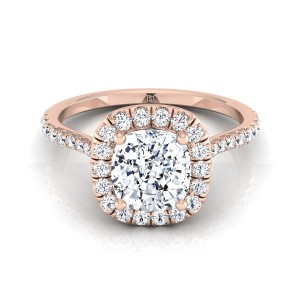 Cushion Cut Diamond Halo Engagement Ring With Pave Shank In 14k Rose Gold (3/8 Ct.tw.)