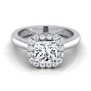 Princess Cut Diamond Halo Engagement Ring In 14k White Gold (1/5 Ct.tw.)