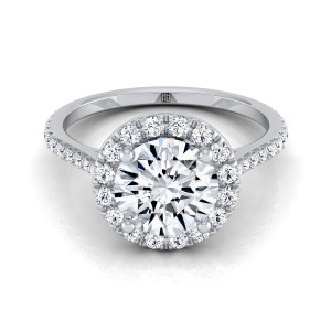 Diamond Round Halo Engagement Ring In 14k White Gold (3/8 Ct.tw.)
