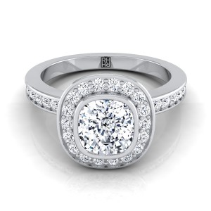 Cushion Cut Bezel-set Diamond Halo Engagement Ring In 14k White Gold (3/8 Ct.tw.)