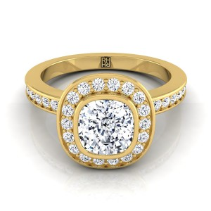 Cushion Cut Bezel-set Diamond Halo Engagement Ring In 18k Yellow Gold (3/8 Ct.tw.)