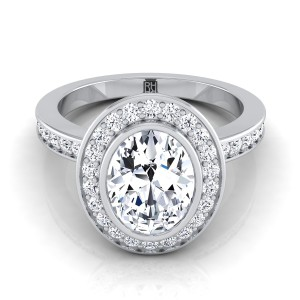 Oval Bezel-set Diamond Halo Engagement Ring In 14k White Gold (3/8 Ct.tw.)