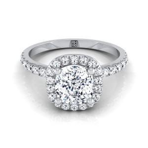 Cushion Cut Diamond Halo Engagement Ring In 14k White Gold (1/3 Ct.tw.)