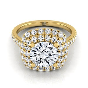 Diamond Double Halo  Engagement Ring With Diamond Pave Shank In 14k Yellow Gold (3/4 Ct.tw.)