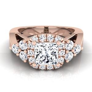 Princess Cut Diamond Halo Engagement Ring In 14krose Gold (5/8 Ct.tw.)
