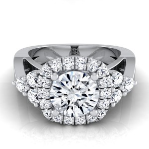 Diamond Square Halo Engagement Ring In 14k White Gold (2/3 Ct.tw.)