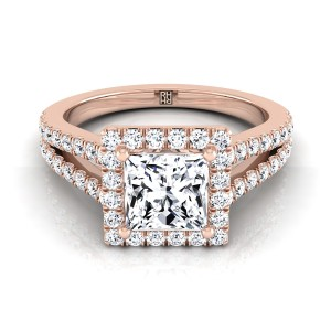 Diamond Halo Princess Cut Engagement Ring With Split Pave Shank In 14k Rose Gold (1/2 Ct.tw.)