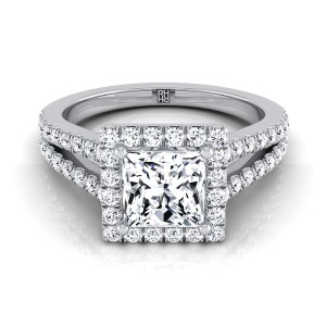 Diamond Halo Princess Cut Engagement Ring With Split Pave Shank In 14k White Gold (1/2 Ct.tw.)