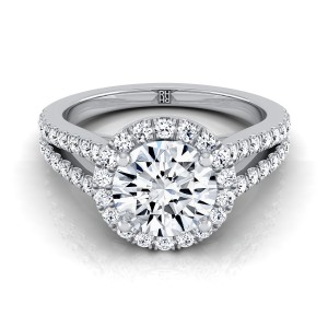 Diamond Halo Engagement Ring With Split Pave Shank In 18k White Gold (1/2 Ct.tw.)