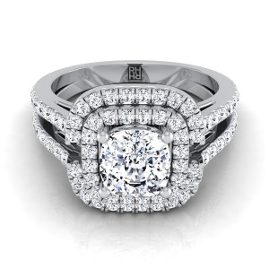 Cushion Cut Diamond Double Halo Engagement Ring With Pave Split Shank In 14k White Gold (2/3 Ct.tw.)