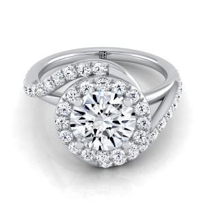 Diamond Pave Wave Design Engagement Ring In Platinum (1/2 Ct.tw.)