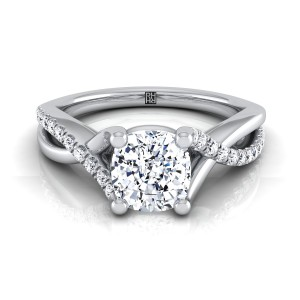 Diamond Cushion Cut Engagement Ring With Pave Infinity Shank In 14k White Gold (1/6 Ct.tw.)