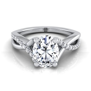 Diamond Oval Engagement Ring With Pave Infinity Shank In 14k White Gold (1/6 Ct.tw.)