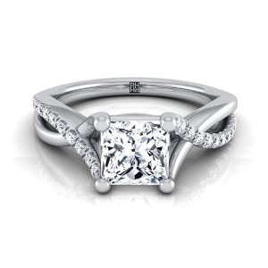 Diamond Princess Cut Engagement Ring With Pave Infinity Shank In 14k White Gold (1/6 Ct.tw.)