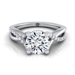 Diamond Engagement Ring With Pave Infinity Shank In 14k White Gold (1/6 Ct.tw.)