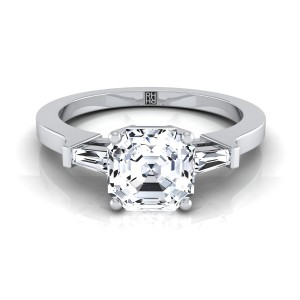 Diamond Engagement Ring  With Asscher Cut Center And Tapered Baguette Side Stones In 14k White Gold (1/4 Ct.tw.)