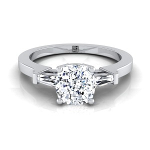 Diamond Engagement Ring  With Cushion Cut Center And Tapered Baguette Side Stones In 14k White Gold (1/4 Ct.tw.)