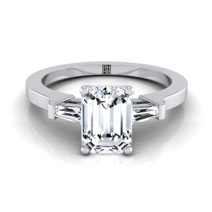 Diamond Engagement Ring  With Emerald Cut Center And Tapered Baguette Side Stones In 14k White Gold (1/4 Ct.tw.)