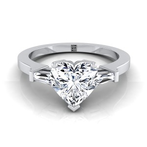 Diamond Engagement Ring  With Heart Shape Center And Tapered Baguette Side Stones In 14k White Gold (1/4 Ct.tw.)