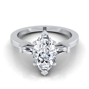 Diamond Engagement Ring  With Marquise Center And Tapered Baguette Side Stones In 14k White Gold (1/4 Ct.tw.)