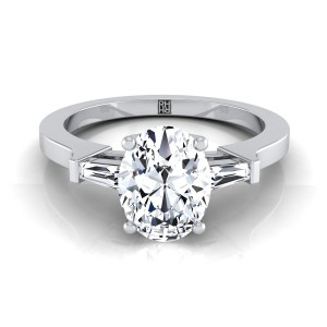 Diamond Engagement Ring With Oval Cut Center And Tapered Baguette Side Stones In 14k White Gold (1/4 Ct.tw.)