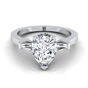 Diamond Engagement Ring  With Pear Shape Center And Tapered Baguette Side Stones In 14k White Gold (1/4 Ct.tw.)