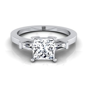 Diamond Engagement Ring  With Princess Cut Center And Tapered Baguette Side Stones In 14k White Gold (1/4 Ct.tw.)