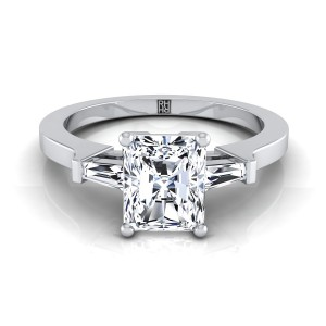 Diamond Engagement Ring  With Radiant Cut Center And Tapered Baguette Side Stones In 14k White Gold (1/4 Ct.tw.)