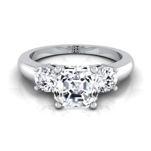 Diamond 3 Stone Engagement Ring With Asscher Cut Center And Round Side Stones In 14k White Gold (1/4 Ct.tw.)