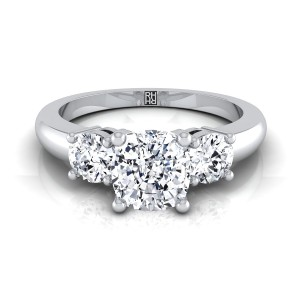 Diamond 3 Stone Engagement Ring With Cushion Cut Center And Round Side Stones In 14k White Gold (1/4 Ct.tw.)
