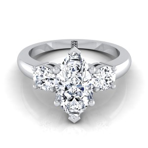 Diamond 3 Stone Engagement Ring With Marquise Center And Round Side Stones In 14k White Gold (1/4 Ct.tw.)