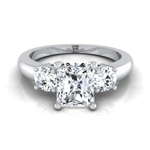 Diamond 3 Stone Engagement Ring With Radiant Cut Center And Round Side Stones In 14k White Gold (1/4 Ct.tw.)