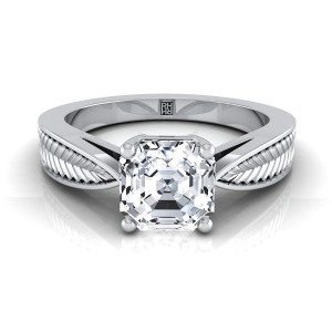 Classic 4 Prong Asscher Cut Diamond Engagement Ring With Leaf Texture Design In 14k White Gold