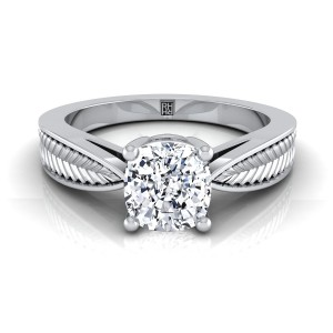 Classic 4 Prong Cushion Cut Diamond Engagement Ring With Leaf Texture Design In 14k White Gold