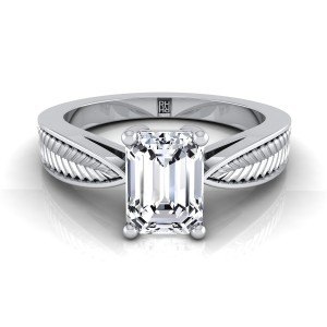 Classic 4 Prong Emerald Cut Diamond Engagement Ring With Leaf Texture Design In 14k White Gold