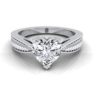 Classic 3 Prong Heart Shape Diamond Engagement Ring With Leaf Texture Design In 14k White Gold