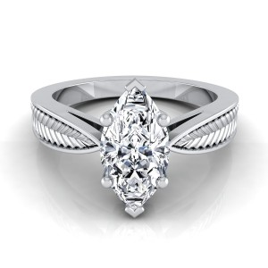 Classic 6 Prong Marquise Diamond Engagement Ring With Leaf Texture Design In 14k White Gold